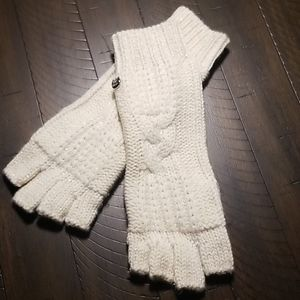 UGG Australia Cream Metallic Fingerless Gloves